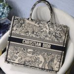 Dior Book Tote M1286 Black Toile de Jouy Embroidery - luxibagsmall