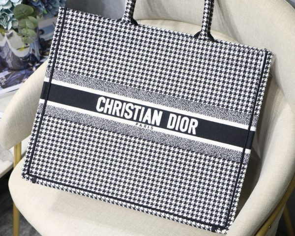 Dior Book Tote M1286 Black and White Houndstooth Embroidery - luxibagsmall