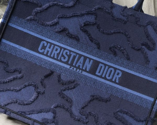 Dior Book Tote M1286 Blue Camouflage Embroidery - luxibagsmall