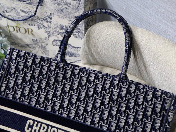 Dior Book Tote M1286 Blue Dior Oblique Velvet - luxibagsmall