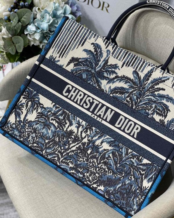 Dior Book Tote M1286 Blue Dior Palms Embroidery - luxibagsmall