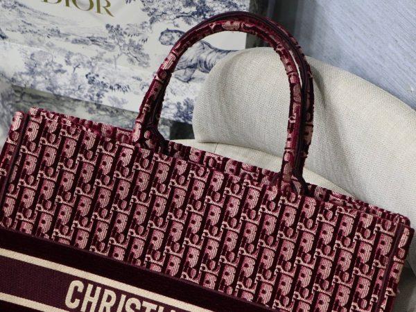 Dior Book Tote M1286 Burgundy Dior Oblique Embroidery - luxibagsmall