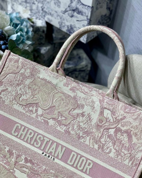 Dior Book Tote M1286 Pink Toile de Jouy Embroidery - luxibagsmall