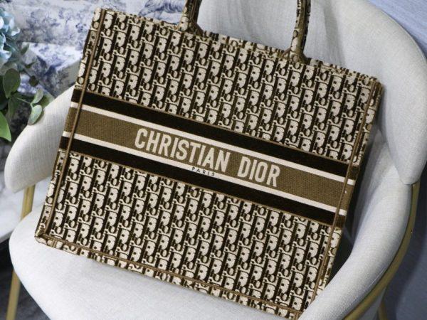 Dior Book Tote M1286 Tan Dior Oblique Embroidery - luxibagsmall