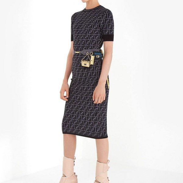 Fendi Women's FZD753A5 FF Motif Fabric Dress Black - Voguebags