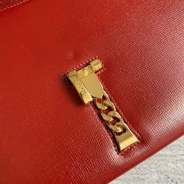 Gucci 602781 Sylvie 1969 Snakeskin Small Top Handle Bag Red - luxibagsmall