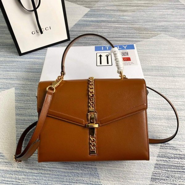 Gucci 602781 Sylvie 1969 Snakeskin Small Top Handle Bag Brown - luxibagsmall