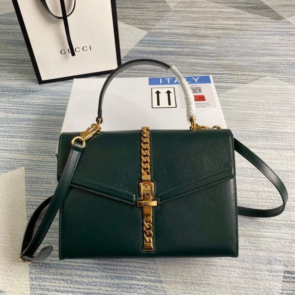 Gucci 602781 Sylvie 1969 Snakeskin Small Top Handle Bag Green - luxibagsmall