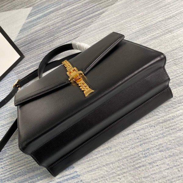 Gucci 602781 Sylvie 1969 Snakeskin Small Top Handle Bag Black - luxibagsmall