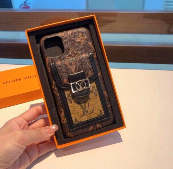 Louis Vuitton Apple Iphone Leather Premium Deluxe Phone Case Protection 10110 - luxibagsmall