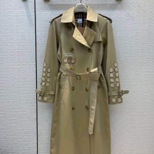 burberry womens badge applique cotton gabardine trench coat 88012 1