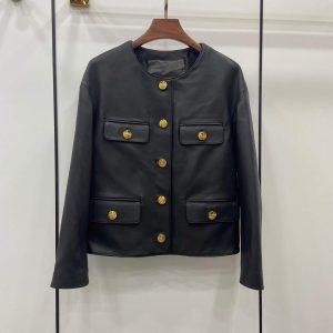celine womens clothing jacket in lambskin leather 1