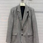 celine womens clothing tournon jacket in prince of wales check black white 88006 1