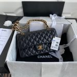 chanel a01112 cf quilted classic flap bag in grainy lambskin black 55