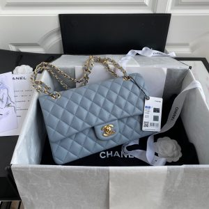 chanel a01112 cf quilted classic flap bag in grainy lambskin blue 0