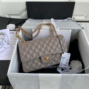 chanel a01112 cf quilted classic flap bag in grainy lambskin gray 0