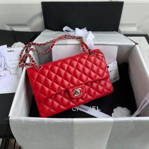 chanel a01112 cf quilted classic flap bag in grainy lambskin red 0