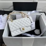chanel a01112 cf quilted classic flap bag in grainy lambskin white 0