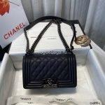 chanel a67086 boy bag chanel flap shoulder bag black caviar silver 1