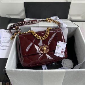 chanel as1160 chanel 19 flap b02511 n6512 lambskin bag wine red 2
