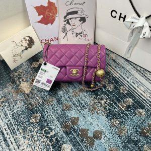 chanel as1787 chanel flap bag lambskin gold n6517 purple 2