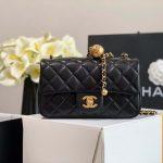 chanel as1787 chanel mini flap bag lambskin gold na117 black 4