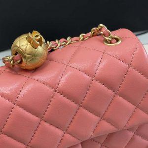 chanel as1787 chanel mini flap bag lambskin gold na117 pink 1