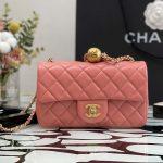 chanel as1787 chanel mini flap bag lambskin gold na117 pink 4