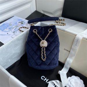 chanel as1894 chanel drawstring bag velvet strass navy blue 1