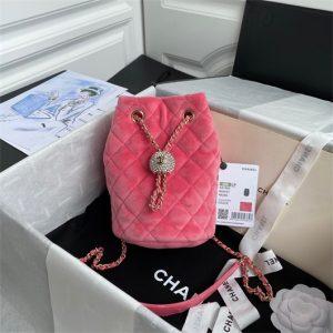 chanel as1894 chanel drawstring bag velvet strass pink 1