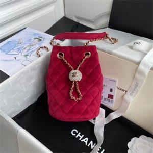 chanel as1894 chanel drawstring bag velvet strass wine red 1