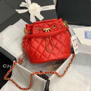 chanel as2057 large drawstring bag lambskin Orange red 1