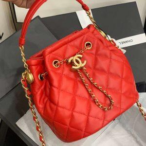 chanel as2057 large drawstring bag lambskin Orange red 2