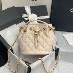 chanel as2057 large drawstring bag lambskin beige 1