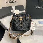 chanel as2057 large drawstring bag lambskin black 2