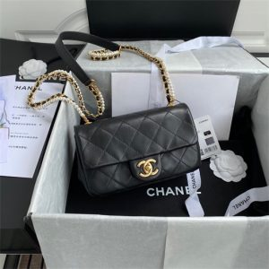 chanel as2210 flap bag with crystal pearls chain calfskin black 1