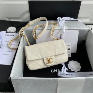 chanel as2210 flap bag with crystal pearls chain calfskin white 1