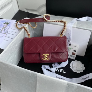chanel as2210 flap bag with crystal pearls chain calfskin wine red 1