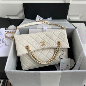 chanel as2213 shopping bag calfskin beige 19