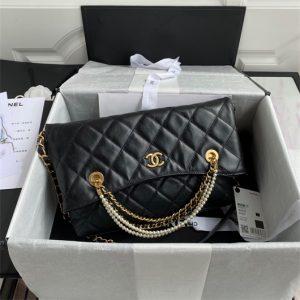 chanel as2213 shopping bag calfskin black 1