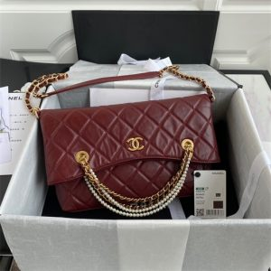 chanel as2213 shopping bag calfskin wine red 1