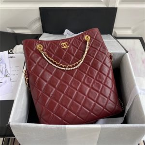 chanel as2213 shopping bag calfskin wine red 2