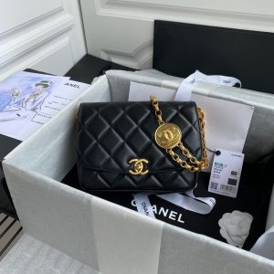 chanel as2222 flap bag with charm chain lambskin black 1