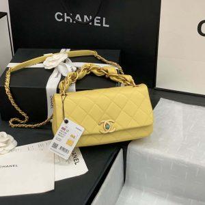 chanel as2388 chanel flap bag shiny lambskin gold yellow 29
