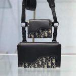 Dior 2GACA321 Elite Shoulder Pouch Beige And Black Jacquard Canvas Calfskin - Voguebags