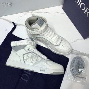 Dior 3SH132 B27 High Top Sneaker White Calfskin With Oblique Jacquard - Voguebags