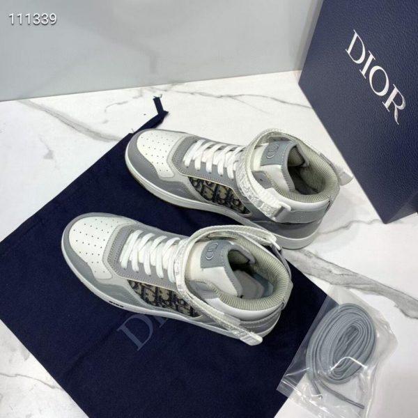 Dior 3SH132 B27 High Top Sneaker Beige Calfskin With Oblique Jacquard - Voguebags