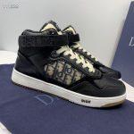 Dior 3SH132 B27 High Top Sneaker Black Calfskin With Oblique Jacquard - Voguebags