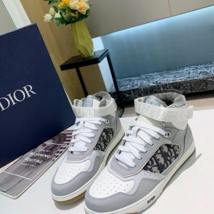 Dior 3SH132 B27 High Top Sneaker Gray and white Calfskin With Oblique Jacquard - Voguebags