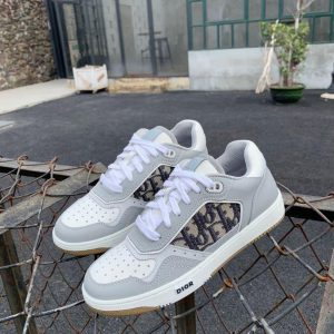 Dior 3SN272 B27 Low Top Sneaker White and Gray Smooth Calfskin - Voguebags